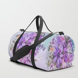 Painterly Violet Floral Abstract Duffle Bag
