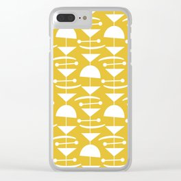 Retro Mid Century Modern Abstract Mobile 657 Mustard Yellow Clear iPhone Case