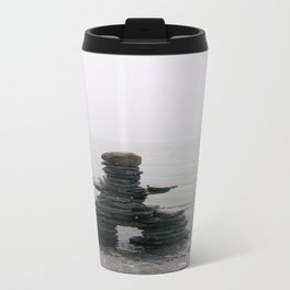 Stone Inukshuk on The Shore Looking Out Over Calm Water ~ A Meaningful Messenger Travel Mug