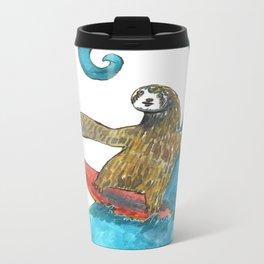 surfing sloth transparent Metal Travel Mug