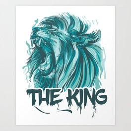 Blue Lion (The King Of Jungle) Vector Style Art Print