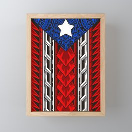 Puerto Rican Tribal Flag - Modern Boricua Framed Mini Art Print