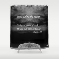 scripture Shower Curtains featuring Faith Religious Art--- Jesus Calms the Storm--- Bible Scripture Mark 4: 35-41 By Saribelle Rodriguez by Saribelle Inspirational Art