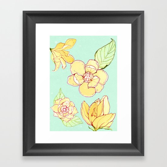 Summer flowers blue Framed Art Print