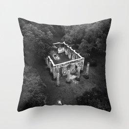 Old Sheldon Church Ruins Black and White Throw Pillow