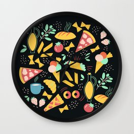 Italian food - Black chalkboard  Wall Clock
