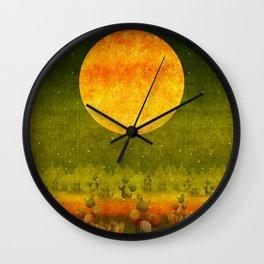 """Green Lemon Sunset"" Wall Clock"