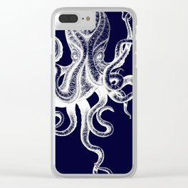 Vintage Octopus Blue Clear iPhone Case
