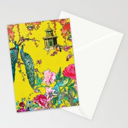 Vintage Oriental Peacocks, Peonies, Birds & Pagodas Print Stationery Cards