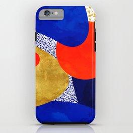 Terrazzo galaxy blue night yellow gold orange iPhone Case