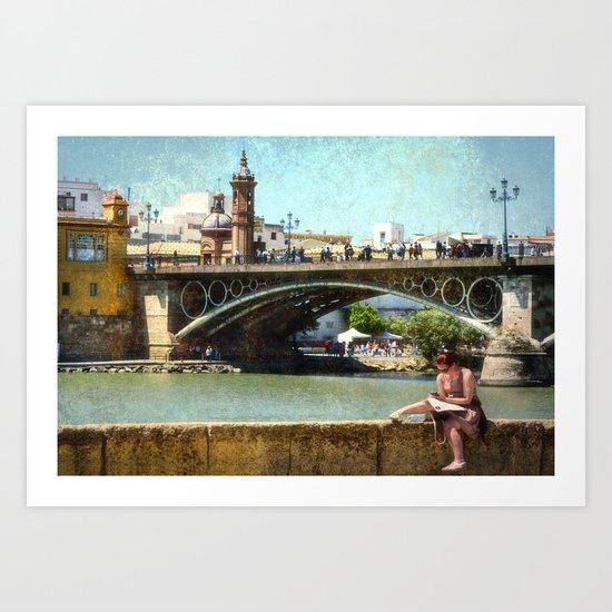 Relaxing by the river Guadalquivir, Sevilla Art Print