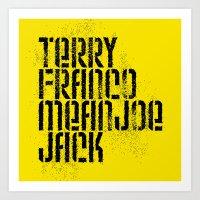 steelers Art Prints featuring Terry Franco Mean Joe Jack / Gold by Brian Walker