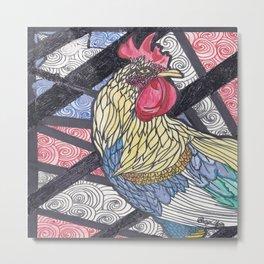 Fighting Rooster Metal Print