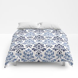 Feuille Damask Pattern Blues on Cream Comforters