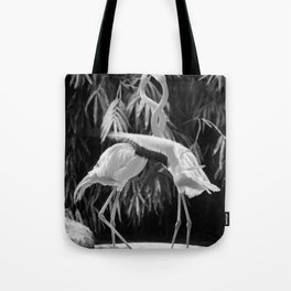Flamingos (Black and White) Tote Bag