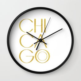 Chicago Print,City Print,Home Decor,Wall artwork,Chicago Poster,Typography Print,Gold Typography,Art Wall Clock