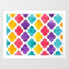 Colorful quatrefoil pattern in watercolor Art Print