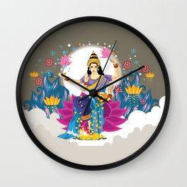 Goddess Lakshmi Cool Colors Vector Wall Clock