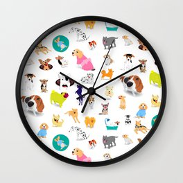 Pattern of dogs, adorable and friendly animal. Wall Clock