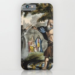 Raphael's Prophetic Almanack: a mob in France, Merlin and King Arthur, and the Boxer Rebellion (1840 iPhone Case