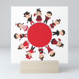 Spanish flamenco dancer. Kawaii cute face with pink cheeks and winking eyes. Gipsy Mini Art Print
