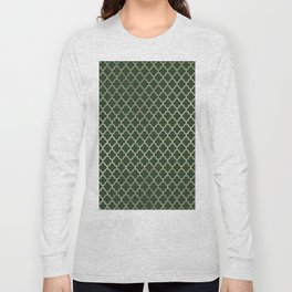 Forest green faux gold stylish moroccan quatrefoil Long Sleeve T-shirt