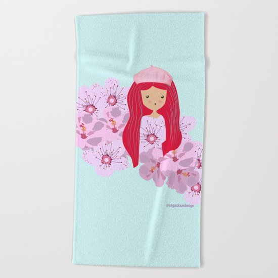 Girl on flowers Beach Towel