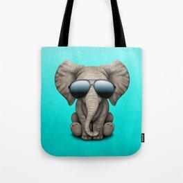 Cute Baby Elephant Wearing Sunglasses Tote Bag