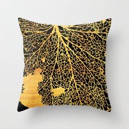 gold leaf skeleton Throw Pillow