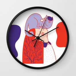 Girl with purple cat Wall Clock