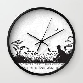 Secret Garden Black and White Illustrated Quote Wall Clock