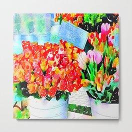 Colorful Flower Market in Paris Watercolor Metal Print