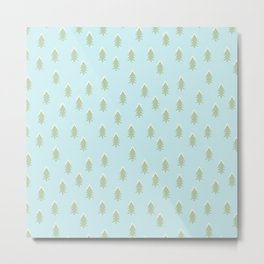 Merry christmas- With snow covered x-mas trees pattern on aqua background Metal Print