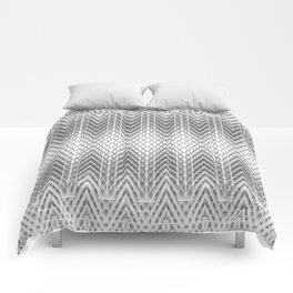 Cool Silver Grey Frosted Geometric Design Comforters