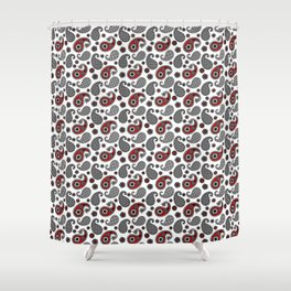 Paisley Pattern Black White Gray And Red Shower Curtain