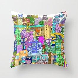 Tel Aviv (Color) Throw Pillow