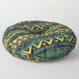 Gold and Teal Marble Tribal Boho Ethnic  Pattern Floor Pillow