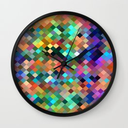 geometric square pixel pattern abstract in orange blue purple pink green yellow Wall Clock