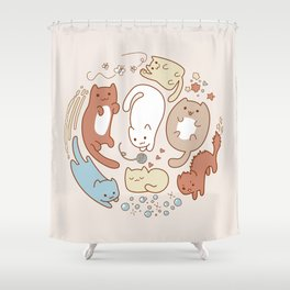 Seven cute cats. Shower Curtain