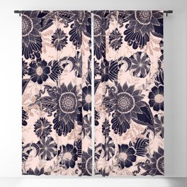 Girly Navy Rose Gold Glitter Floral Illustrations Blackout Curtain