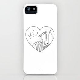Kansas City - Minimalist Skyline Heart iPhone Case