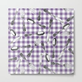 Utensils on Violet Picnic Blanket Metal Print