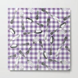 Utensils on Violet Picnic Blanket Metal Print