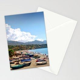 Fishing Boats Burriana Beach Nerja Spain Stationery Cards