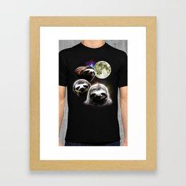 Funny Space Sloths Framed Art Print