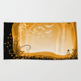 Dark Forest at Dawn in Amber Beach Towel