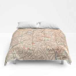 Vintage Map of Brussels Belgium (1907) Comforters