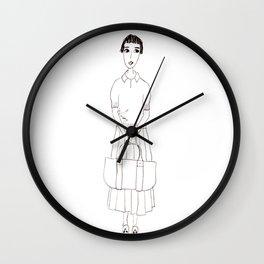 girl in white Wall Clock