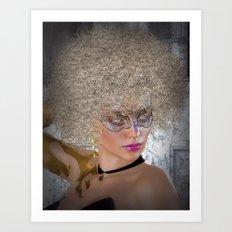 Afro Blonde Beautiful Masked Face Art Print