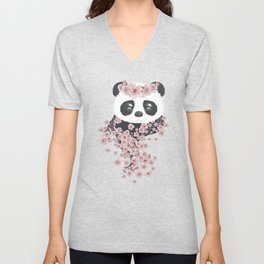 Panda face and Sakura Unisex V-Neck
